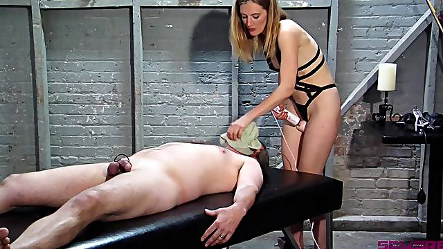 Blonde wife wants to dominate her man and play with his dick
