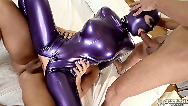 Latex fantasy for two men with big dicks