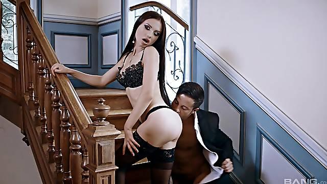 Sensational staircase sex for seductive siren Sasha Rose