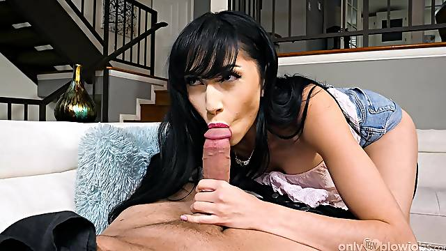 Sexy brunette provides closeup action with the man's stick