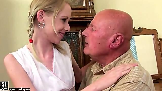 Teenage girl kissing grandpa in sexy scene