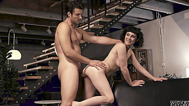 Man's steel inches causes this hot brunette the best orgasms
