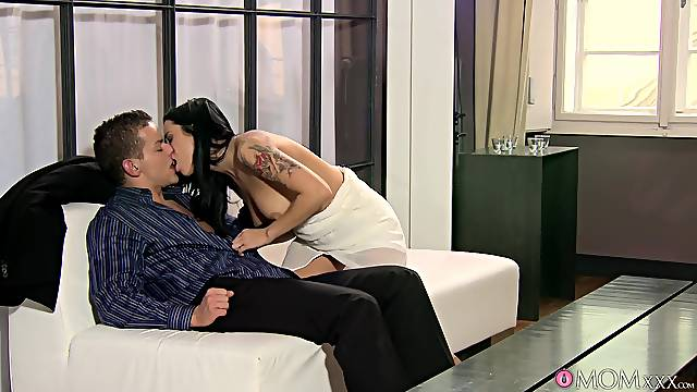 Tattooed babe with sexy boobs, insolent couch scenes