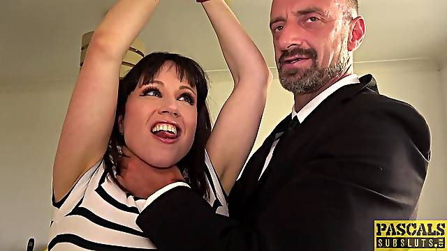 Submissive amateur receives great inches in her tight holes during BDSM play