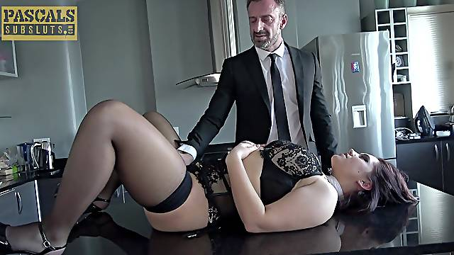 Guy in suit fucks submissive woman in both her plumper holes