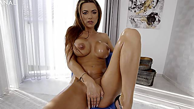 Big-breasted Shalina Devine is oiled up, ass fucked and booty creampied