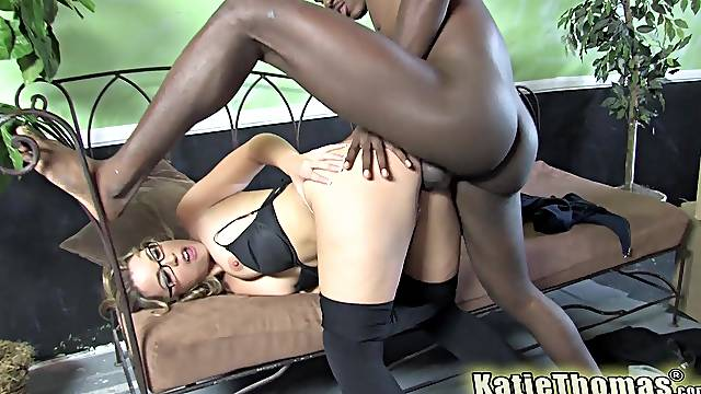 Sexy Katie Thomas thanks a black man for helping her move