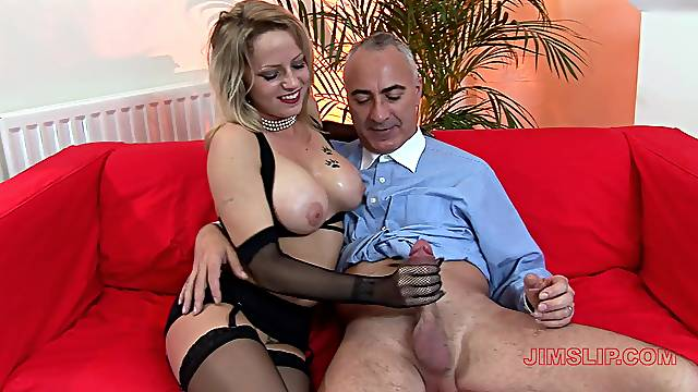 Sasha gives an older man an excellent handjob before rough banging