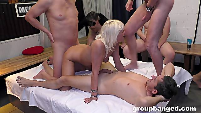 Group sex orgy for this hot mature with such a tight cunt
