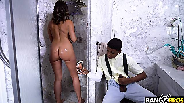 Black dudes fuck a hairy MILF until she falls exhausted