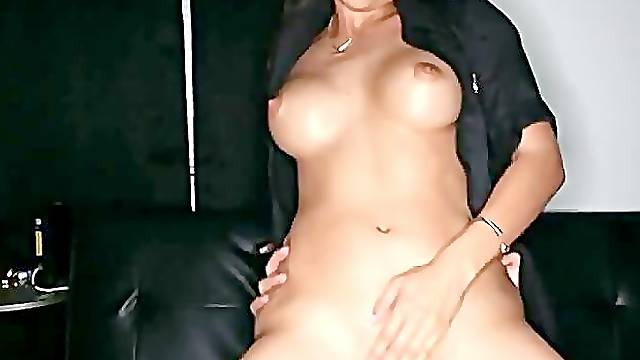 Busty Latina cop sucking and riding bulge in darkened room