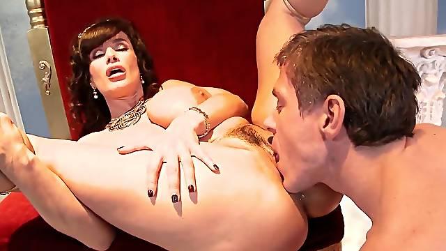Goddess of sex fucks with big dick stud on her throne