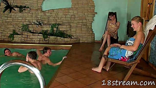 Hot group sex in the sauna with some kinky Russian teens