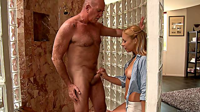 Old and Young Scene Where a Middle Age Guy Fucks a Teen Babe