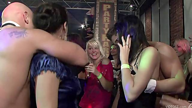 Sexy girls get drunk in club party after hot blowjob and nailed in interracial sex
