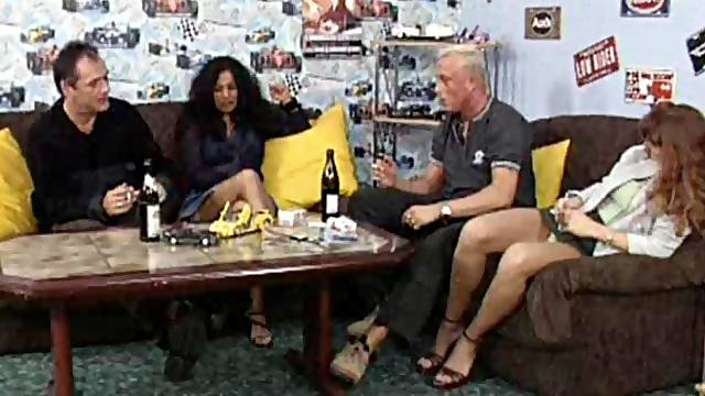 Mature couples swap spouses in a raunchy foursome