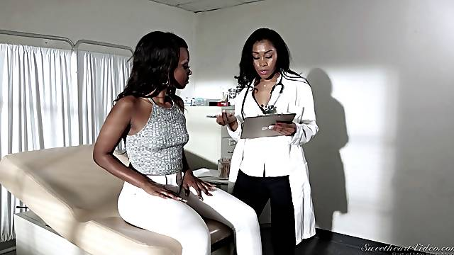 Black female doctor seduces a lesbian patient in the hospital