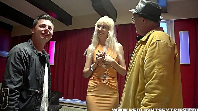 Portuguese man fucking a skinny blonde prostitute's shaved cunt