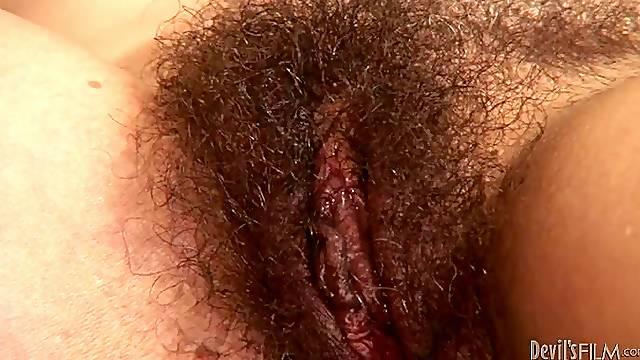Miss Nina Swiss gets her hairy pussy fucked hard