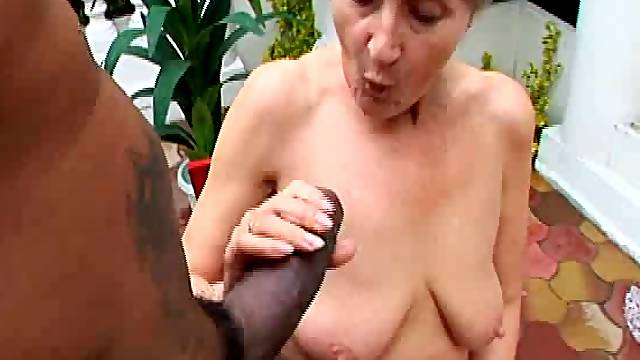 Ancient babe Granny Kitty enjoying a fat cock outdoors naughtily