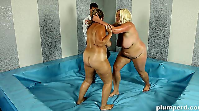 Unforgettable catfight with cute fat babes Monika and Mira