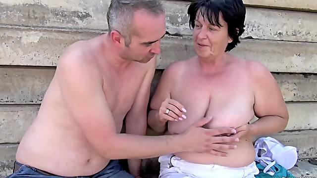 Fat mature woman Alena Tomas bent over for a fuck