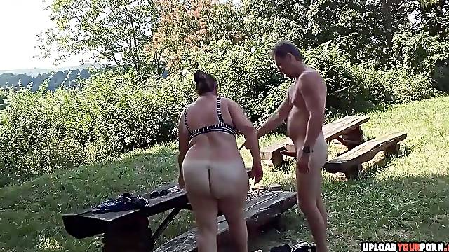 Horny amateur wife gets dicked hard on the picnic table