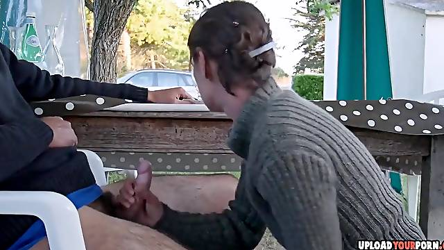 Horny amateur wife sucking a hubbys dick on the public place