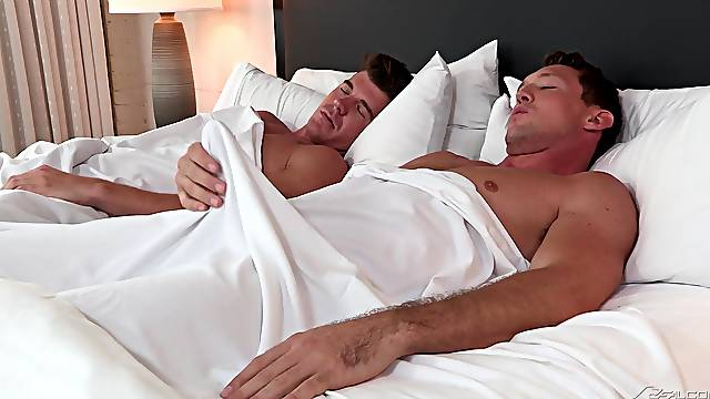 Gay couple suck each others morning wood on a cruise ship