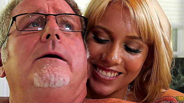 Blonde chick Chanel Grey gets talked into fucking with an older guy