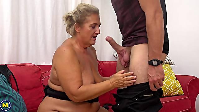 Blonde mature amateur granny Giuliana sucks and fucks a hard cock