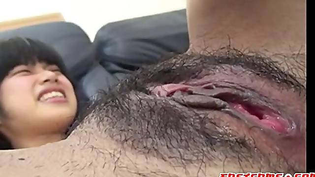 Hot Asian girlfriend sucking her boyfriends thick meaty cock