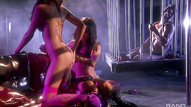 BDSM lesbians Daisy Marie and Roxy DeVille enjoy a rough sex session
