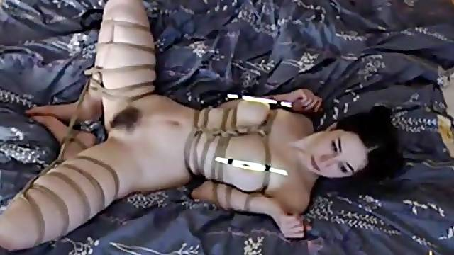 Bondage chick loves to suck a big cock very deeply.