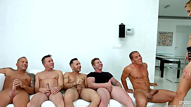 Hardcore gang bang and a cum covered face for blonde Alexis Crystal