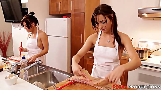 Hadcore porn star group sex in the kitchen with Shana Lane