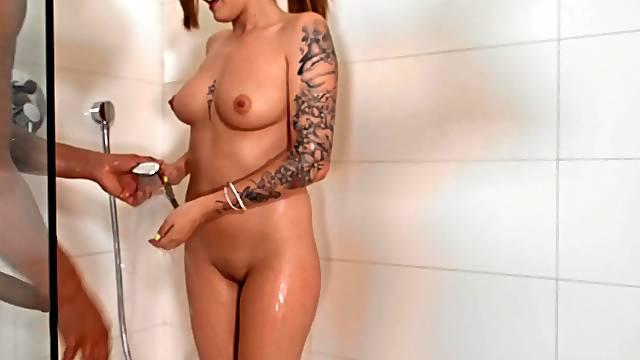 Lara Duro chokes herself on a huge cock in the bathroom