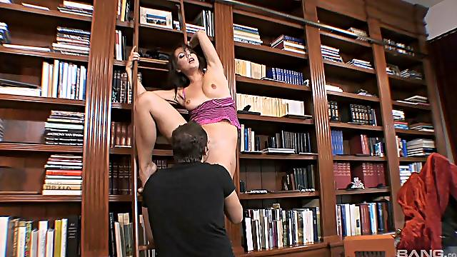 Library wild cock riding with brunette MILF Penny Flame