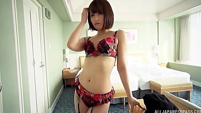 Hardcore doggy style pounding with Japanese Nanase in lingerie