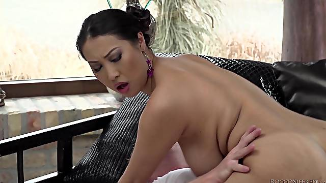 Asian curvy MILF Sharon Lee gets cum all over her huge natural tits