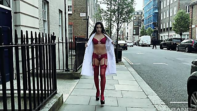 Nurse in red stockings Clea Gaultier rides her patient's hard dick