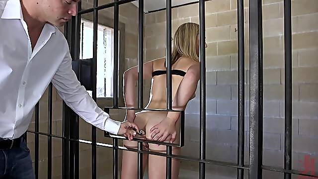 Blonde April Aniston spanked and fed cock while tied up in bondage