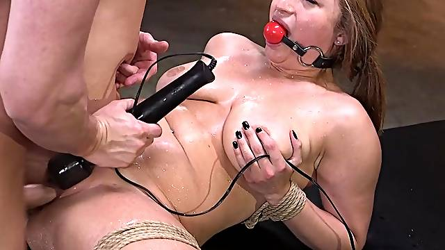 Ball gagged slut Skylar Snow abused with toys on her clit in bondage