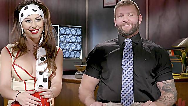 Shemale in latex Chanel Santini fucks a businessman in an office