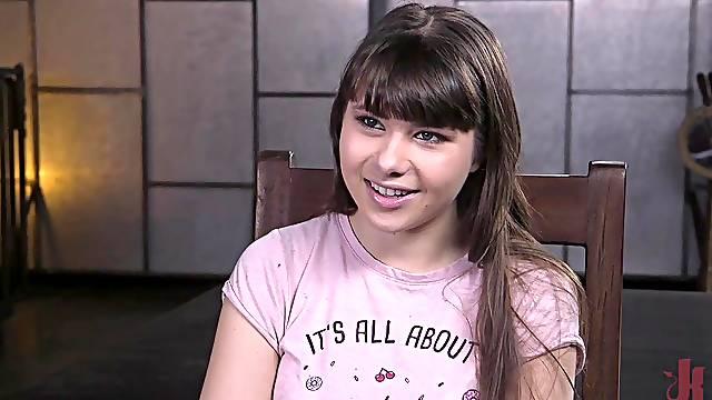 Teen slave slut Luna Rival fucked hard in bondage and abused