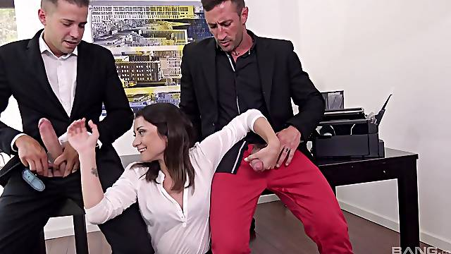 Two fat cocks in the office can satisfy all sexual needs of horny Valentina Bianco