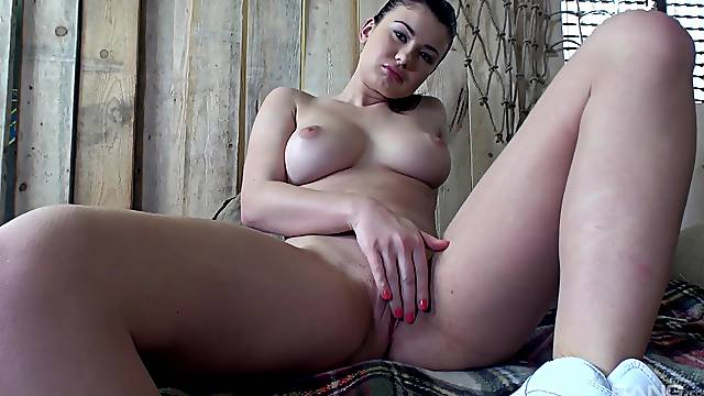 Sexy and busty girl Lucy Li spreads her legs to gets her cunt banged
