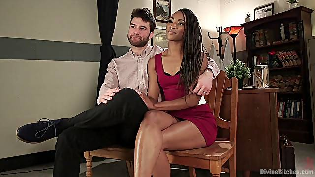 Ebony babe with small tits Nikki Darling fucked hard by two cocks