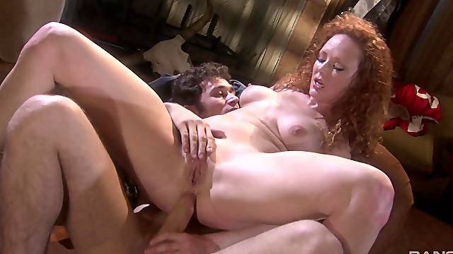 After pussy licking Audrey Hollander jumps on a friend's hard dick