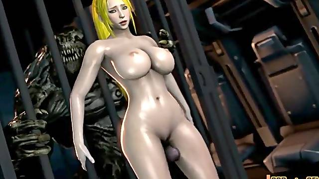 Sexy babe Samus is stranded on alien planet before she gets alien dick in her wet pussy